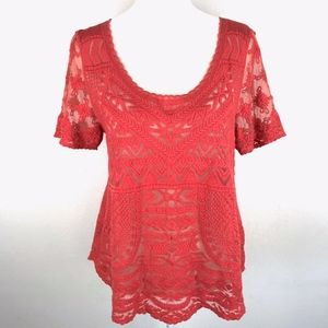 Anthropologie |  Deletta Coral Lace Blouse